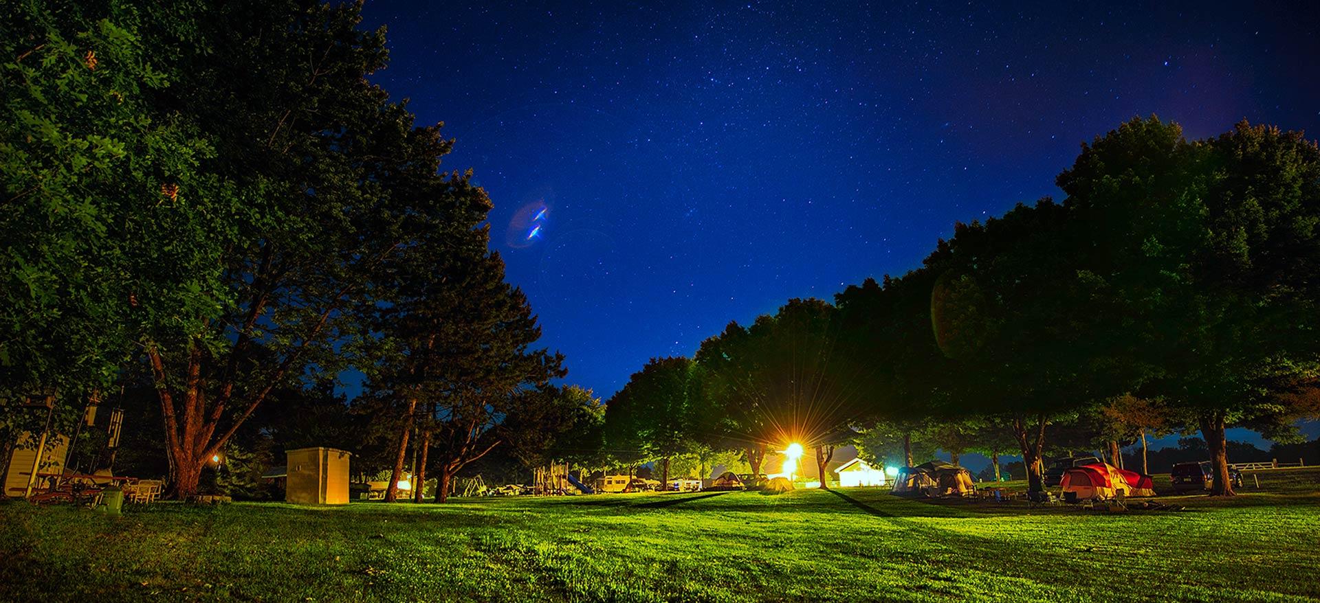 Primitive Camp at Nighttime
