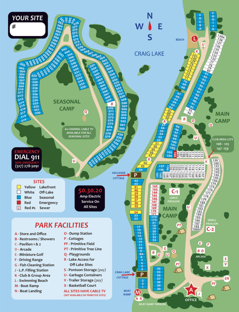 Waffle Farm Campground Site Map